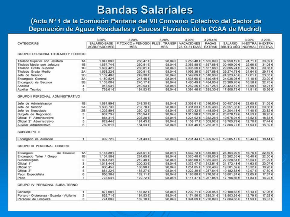 Bandas Salariales ( Acta Nº 1 de la Comisión Paritaria del VII Convenio Colectivo del Sector de Depuración de Aguas Residuales y Cauces Fluviales de l