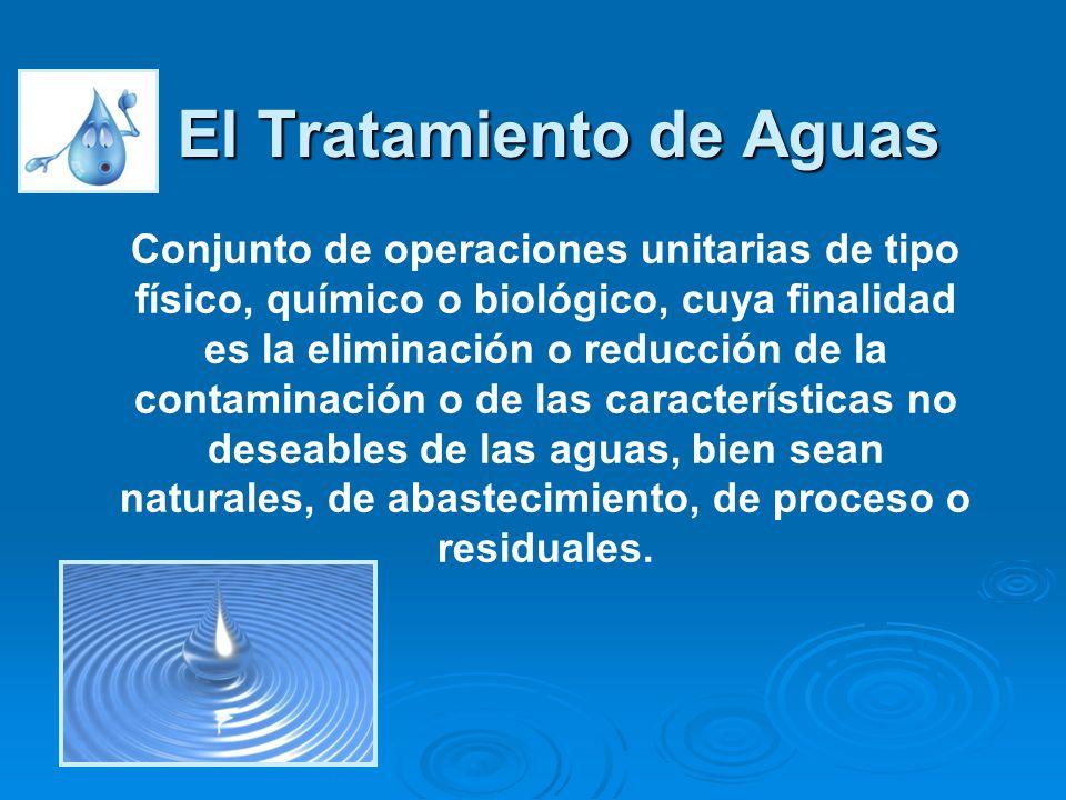 El Tratamiento de Aguas Conjunto de operaciones unitarias de tipo físico, químico o biológico, cuya finalidad es la eliminación o reducción de la cont