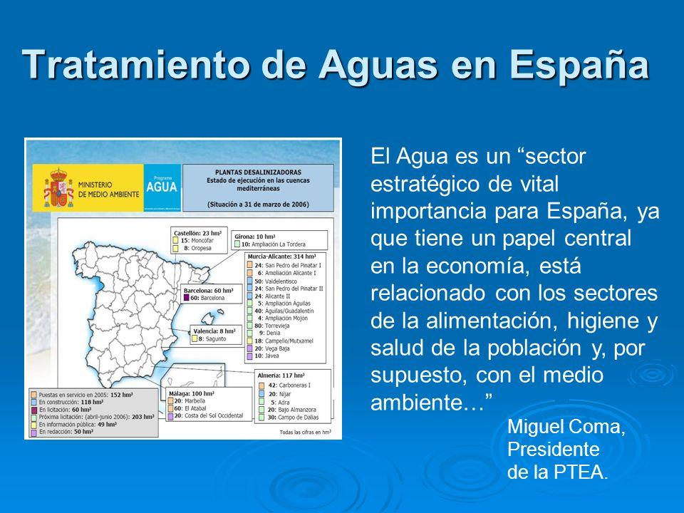 Tratamiento de Aguas en España El Agua es un sector estratégico de vital importancia para España, ya que tiene un papel central en la economía, está r