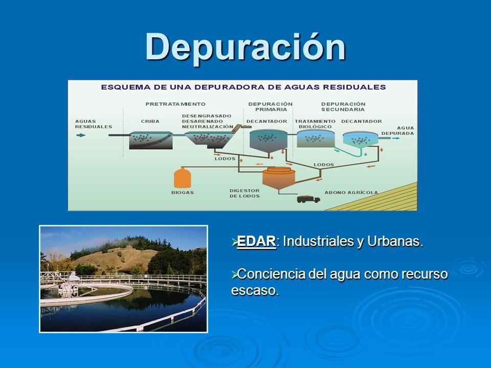 Depuración EDAR: Industriales y Urbanas. EDAR: Industriales y Urbanas. Conciencia del agua como recurso escaso. Conciencia del agua como recurso escas