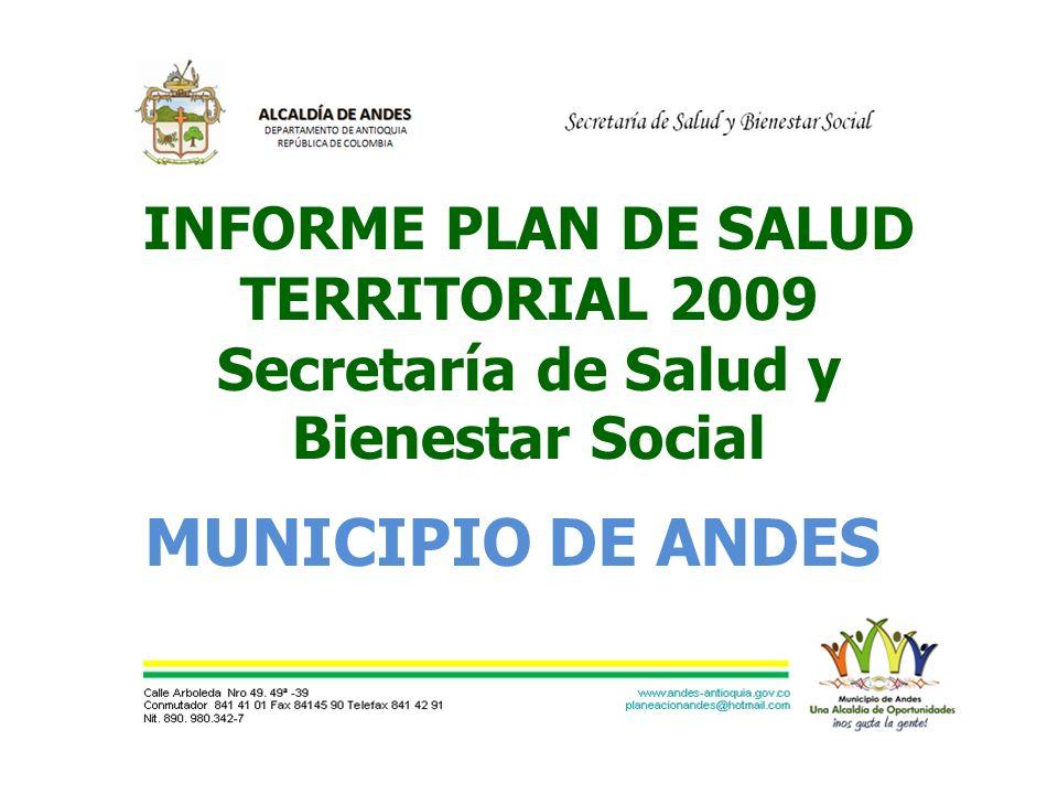 INFORME PLAN DE SALUD TERRITORIAL 2009 Secretaría de Salud y Bienestar Social MUNICIPIO DE ANDES