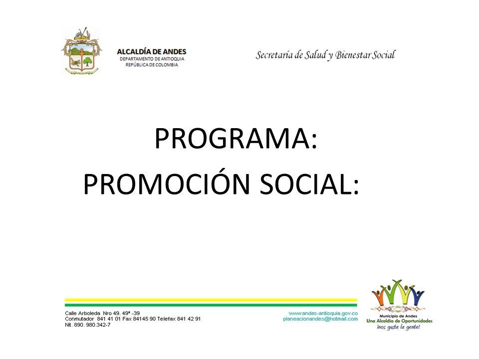 PROGRAMA: PROMOCIÓN SOCIAL: