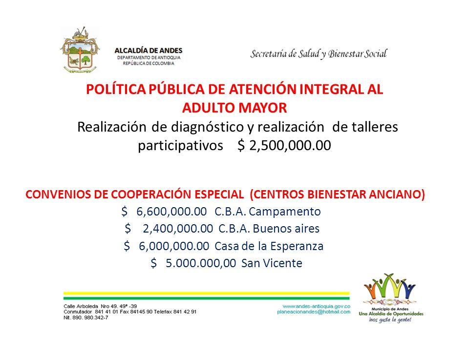 POLÍTICA PÚBLICA DE ATENCIÓN INTEGRAL AL ADULTO MAYOR Realización de diagnóstico y realización de talleres participativos $ 2,500,000.00 CONVENIOS DE COOPERACIÓN ESPECIAL (CENTROS BIENESTAR ANCIANO) $ 6,600,000.00 C.B.A.
