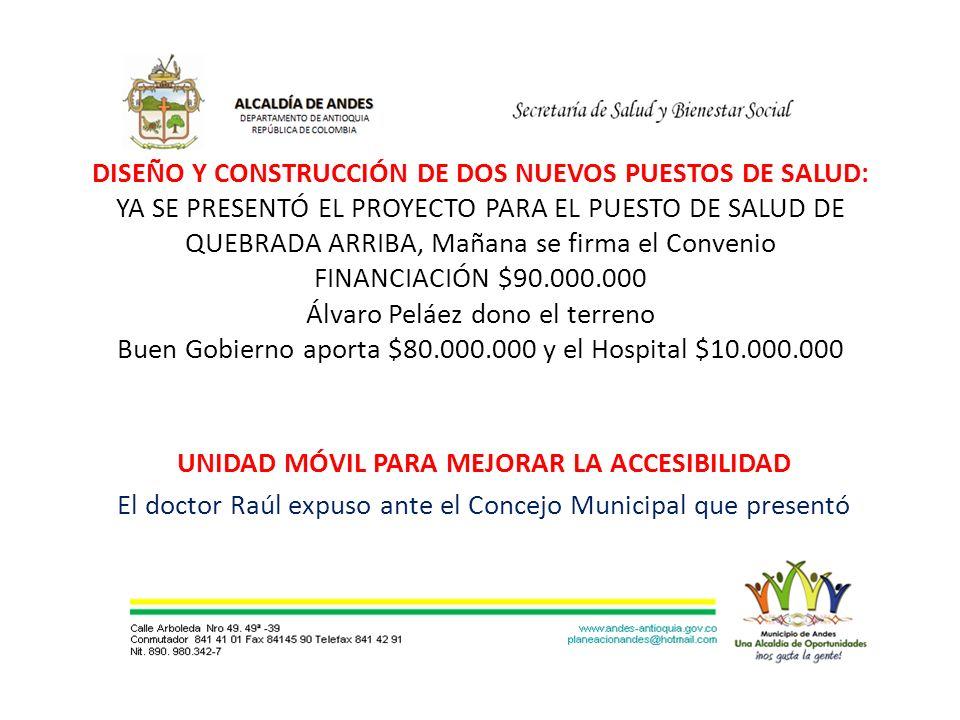 DISEÑO Y CONSTRUCCIÓN DE DOS NUEVOS PUESTOS DE SALUD: YA SE PRESENTÓ EL PROYECTO PARA EL PUESTO DE SALUD DE QUEBRADA ARRIBA, Mañana se firma el Convenio FINANCIACIÓN $90.000.000 Álvaro Peláez dono el terreno Buen Gobierno aporta $80.000.000 y el Hospital $10.000.000 UNIDAD MÓVIL PARA MEJORAR LA ACCESIBILIDAD El doctor Raúl expuso ante el Concejo Municipal que presentó