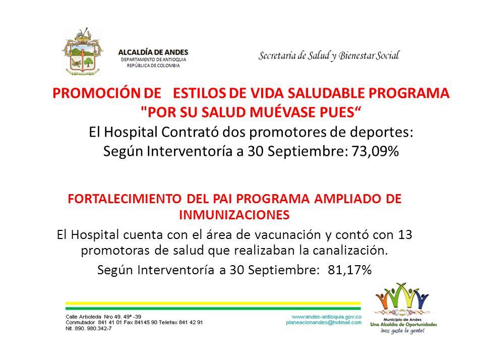 PROMOCIÓN DE ESTILOS DE VIDA SALUDABLE PROGRAMA POR SU SALUD MUÉVASE PUES El Hospital Contrató dos promotores de deportes: Según Interventoría a 30 Septiembre: 73,09% FORTALECIMIENTO DEL PAI PROGRAMA AMPLIADO DE INMUNIZACIONES El Hospital cuenta con el área de vacunación y contó con 13 promotoras de salud que realizaban la canalización.