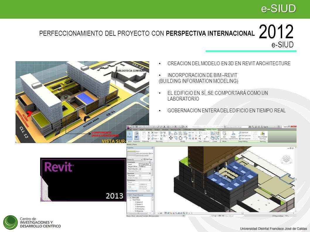 CREACION DEL MODELO EN 3D EN REVIT ARCHITECTURE INCORPORACION DE BIM –REVIT (BUILDING INFORMATION MODELING) EL EDIFICIO EN SÍ, SE COMPORTARÁ COMO UN LABORATORIO GOBERNACION ENTERA DEL EDIFICIO EN TIEMPO REAL e-SIUD PERFECCIONAMIENTO DEL PROYECTO CON PERSPECTIVA INTERNACIONAL 2012 e-SIUD