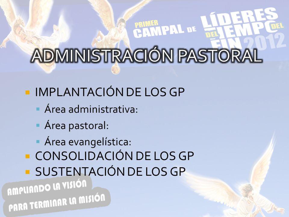 IMPLANTACIÓN DE LOS GP Área administrativa: Área pastoral: Área evangelística: CONSOLIDACIÓN DE LOS GP SUSTENTACIÓN DE LOS GP