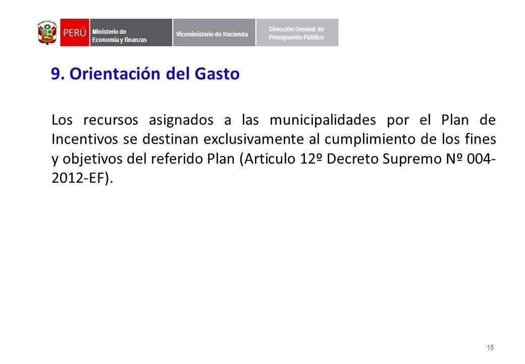 Ministerio de Economía y finanzas Viceministerio de Hacienda Dirección General de Presupuesto Público 9.