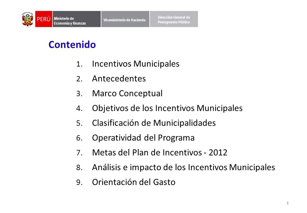 Ministerio de Economía y finanzas Viceministerio de Hacienda Dirección General de Presupuesto Público Contenido 1.