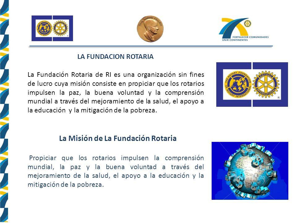 LA FUNDACION ROTARIA La Fundación Rotaria de RI es una organización sin fines de lucro cuya misión consiste en propiciar que los rotarios impulsen la paz, la buena voluntad y la comprensión mundial a través del mejoramiento de la salud, el apoyo a la educación y la mitigación de la pobreza.