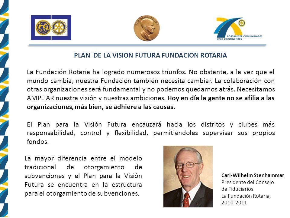 PLAN DE LA VISION FUTURA FUNDACION ROTARIA La Fundación Rotaria ha logrado numerosos triunfos.