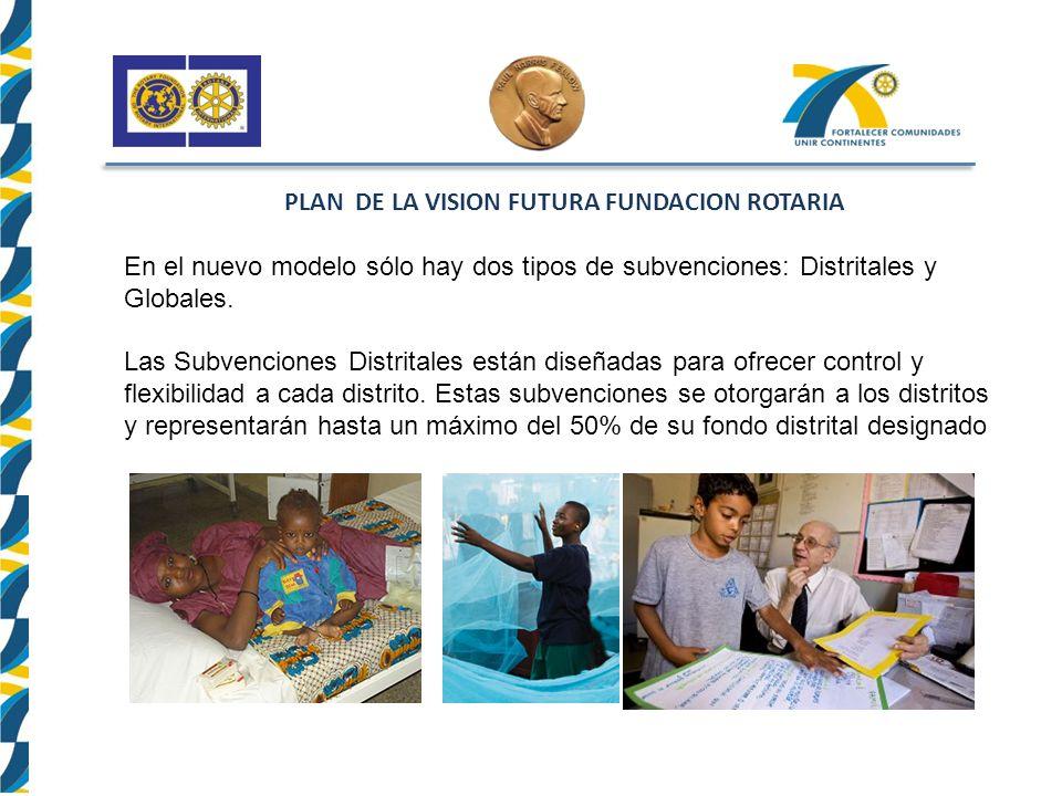 PLAN DE LA VISION FUTURA FUNDACION ROTARIA En el nuevo modelo sólo hay dos tipos de subvenciones: Distritales y Globales.