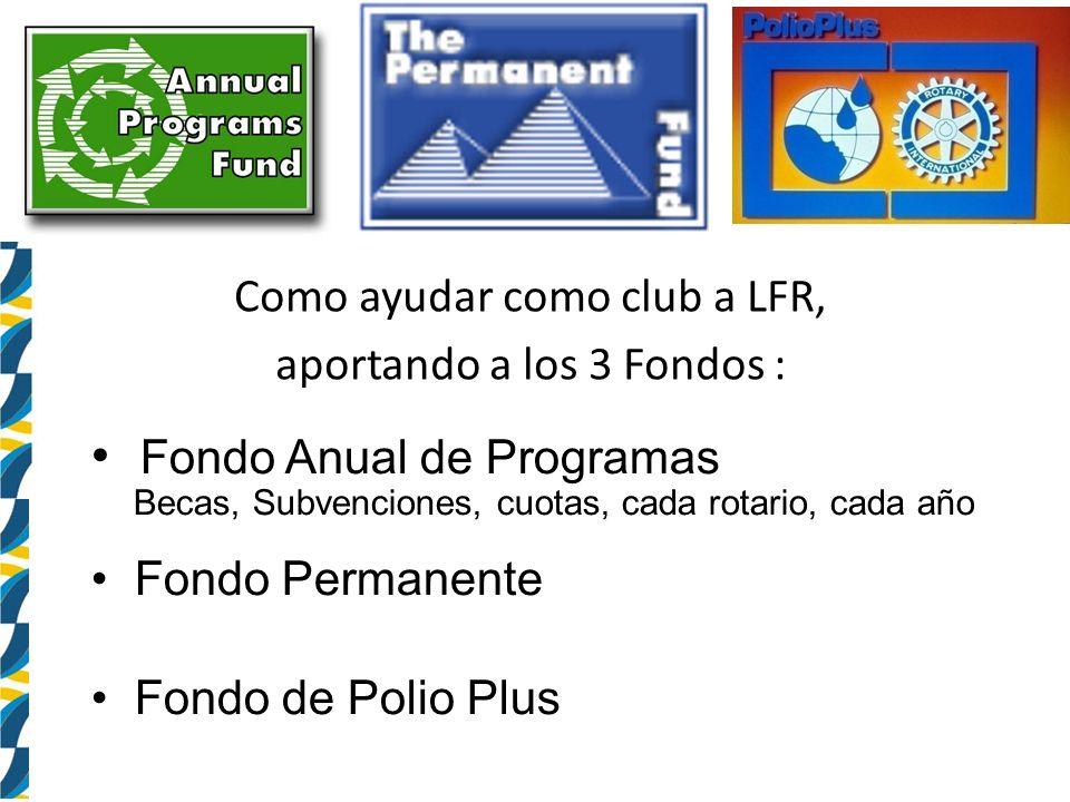Como ayudar como club a LFR, aportando a los 3 Fondos : Fondo Anual de Programas Becas, Subvenciones, cuotas, cada rotario, cada año Fondo Permanente Fondo de Polio Plus