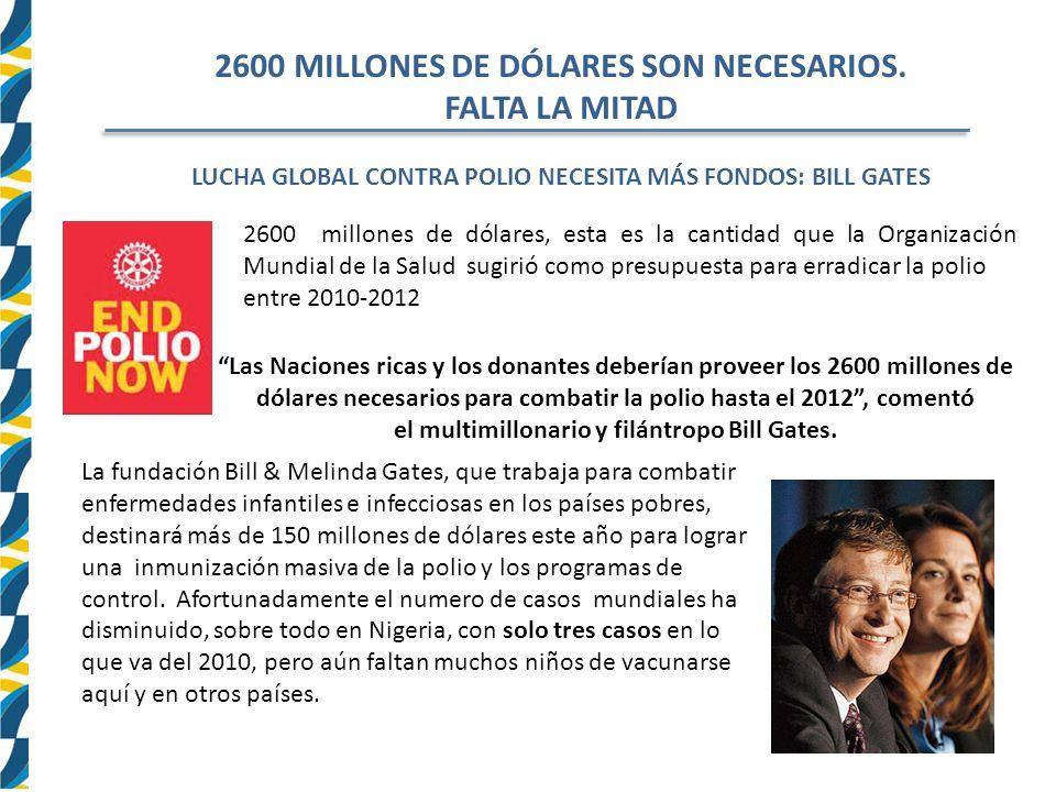 2600 MILLONES DE DÓLARES SON NECESARIOS.