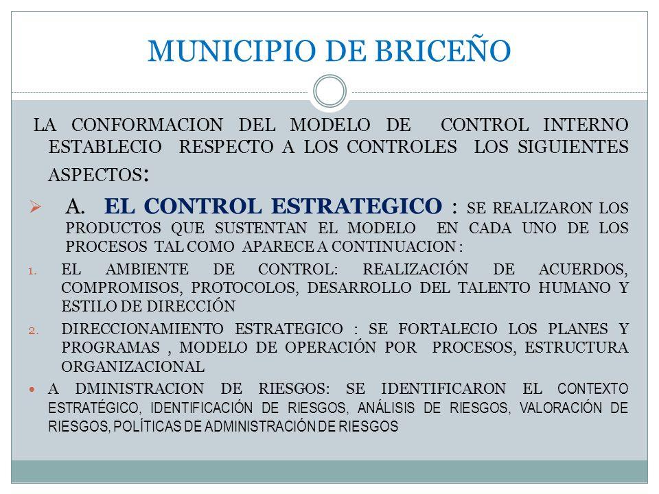 MUNICIPIO DE BRICEÑO LA CONFORMACION DEL MODELO DE CONTROL INTERNO ESTABLECIO RESPECTO A LOS CONTROLES LOS SIGUIENTES ASPECTOS : A. EL CONTROL ESTRATE