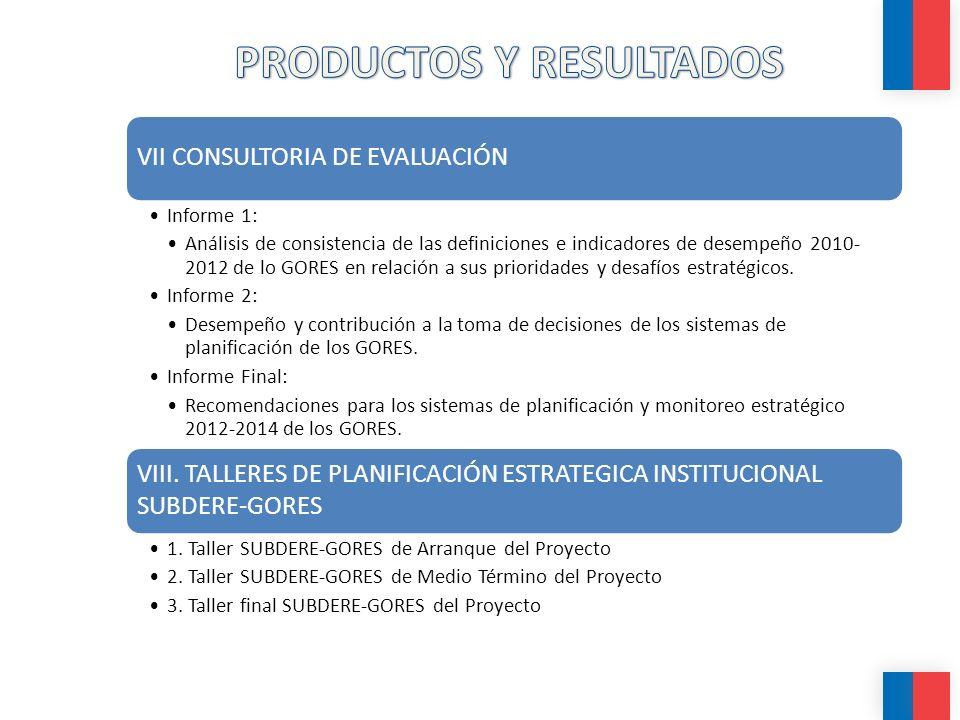 VII CONSULTORIA DE EVALUACIÓN Informe 1: Análisis de consistencia de las definiciones e indicadores de desempeño 2010- 2012 de lo GORES en relación a sus prioridades y desafíos estratégicos.