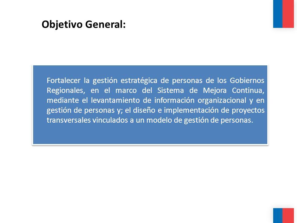 Objetivo General: Fortalecer la gestión estratégica de personas de los Gobiernos Regionales, en el marco del Sistema de Mejora Continua, mediante el l