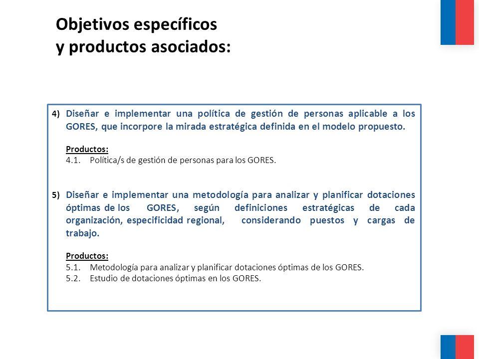 Objetivos específicos y productos asociados: 4) Diseñar e implementar una política de gestión de personas aplicable a los GORES, que incorpore la mira