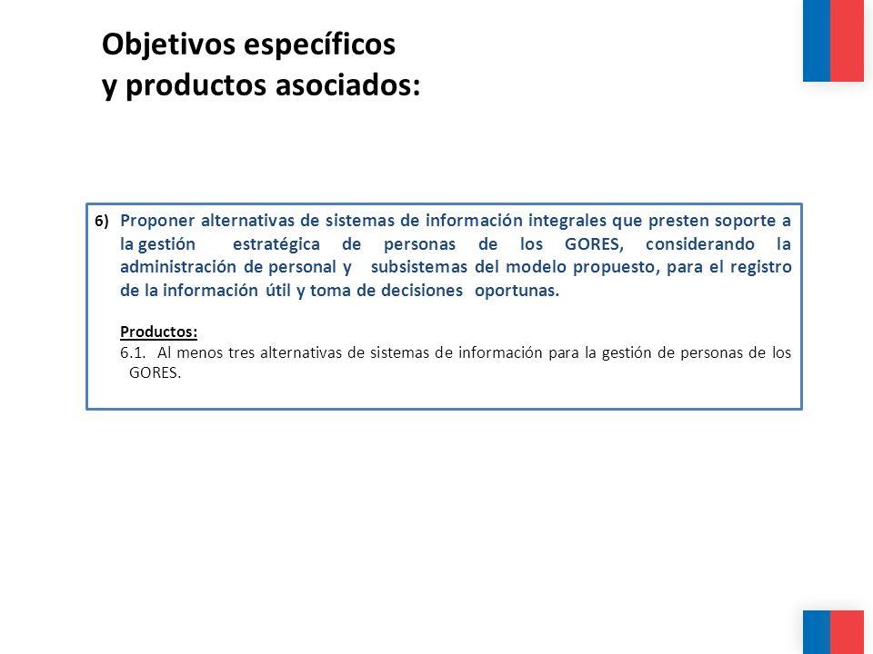 Objetivos específicos y productos asociados: 6) Proponer alternativas de sistemas de información integrales que presten soporte a la gestión estratégi