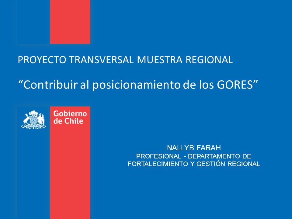 PROYECTO TRANSVERSAL MUESTRA REGIONAL Contribuir al posicionamiento de los GORES NALLYB FARAH PROFESIONAL - DEPARTAMENTO DE FORTALECIMIENTO Y GESTIÓN
