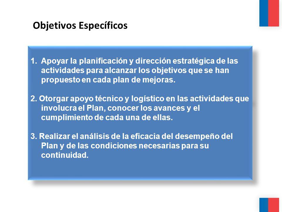 Objetivos Específicos 1. Apoyar la planificación y dirección estratégica de las actividades para alcanzar los objetivos que se han propuesto en cada p
