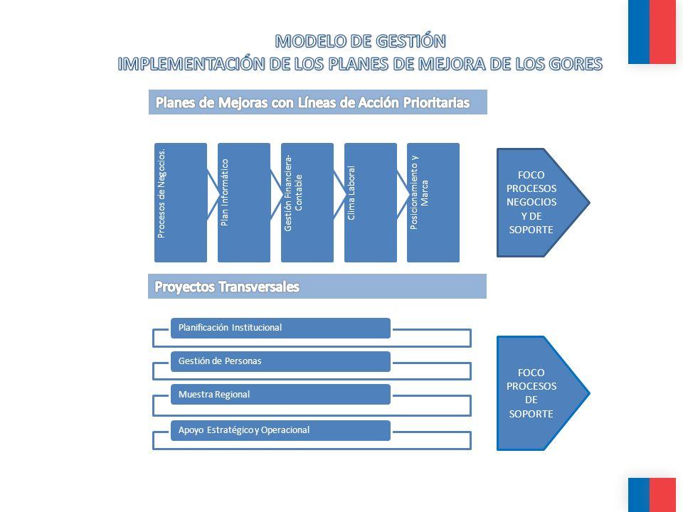 Objetivo General: Apoyar la implementación de los Planes de Mejora de cada Gobierno Regional, contribuyendo a la instalación de un enfoque y una cultura de mejoramiento continuo y de excelencia en la gestión de éstos.