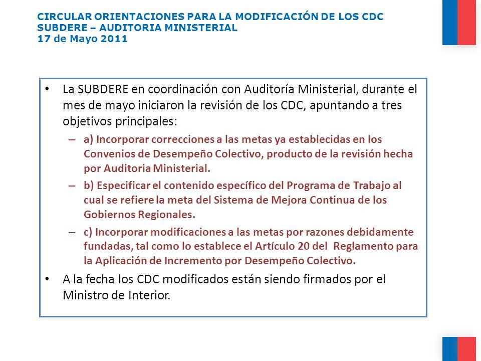 CIRCULAR ORIENTACIONES PARA LA MODIFICACIÓN DE LOS CDC SUBDERE – AUDITORIA MINISTERIAL 17 de Mayo 2011 La SUBDERE en coordinación con Auditoría Minist