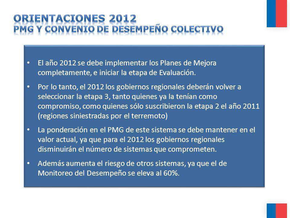 El año 2012 se debe implementar los Planes de Mejora completamente, e iniciar la etapa de Evaluación. Por lo tanto, el 2012 los gobiernos regionales d
