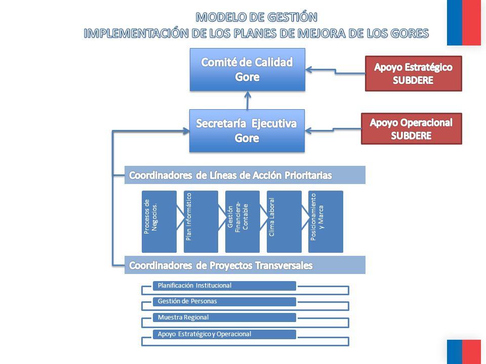 Planificación InstitucionalGestión de PersonasMuestra RegionalApoyo Estratégico y Operacional Procesos de Negocios. Plan InformáticoGestión Financiera