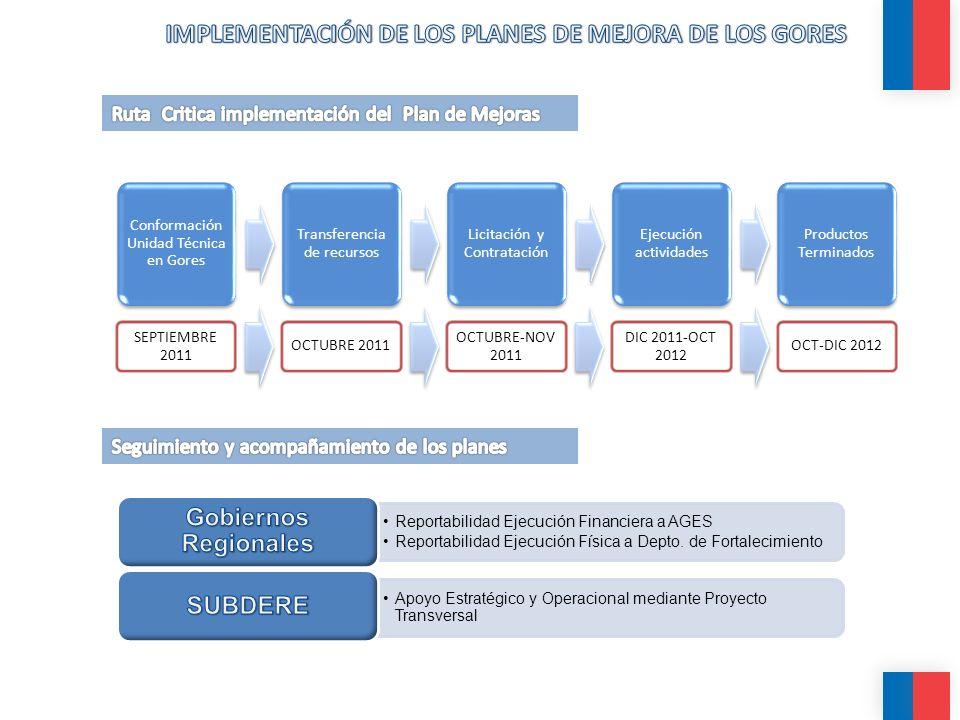 Conformación Unidad Técnica en Gores Transferencia de recursos Licitación y Contratación Ejecución actividades Productos Terminados Reportabilidad Eje