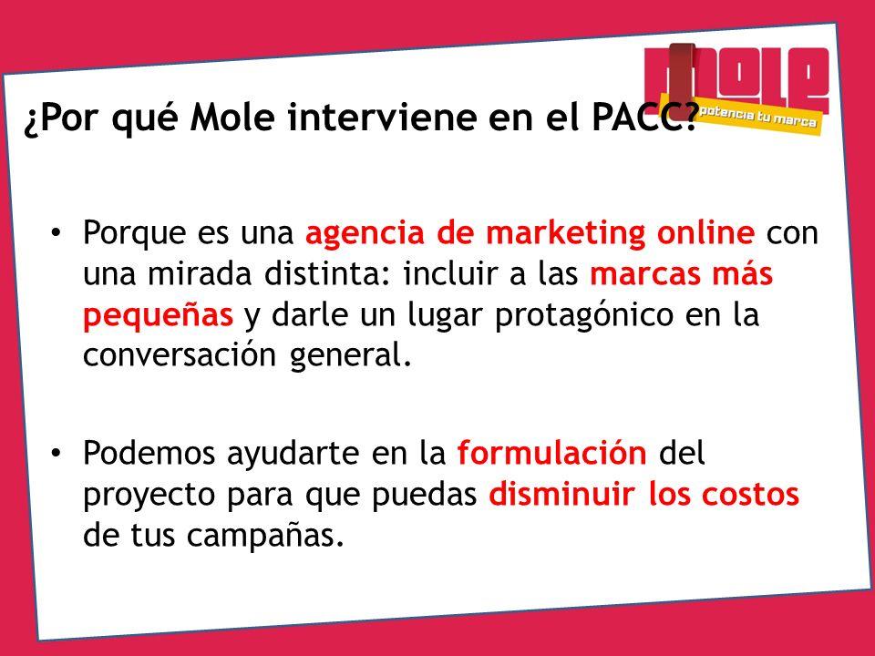 ¿Por qué Mole interviene en el PACC? Porque es una agencia de marketing online con una mirada distinta: incluir a las marcas más pequeñas y darle un l
