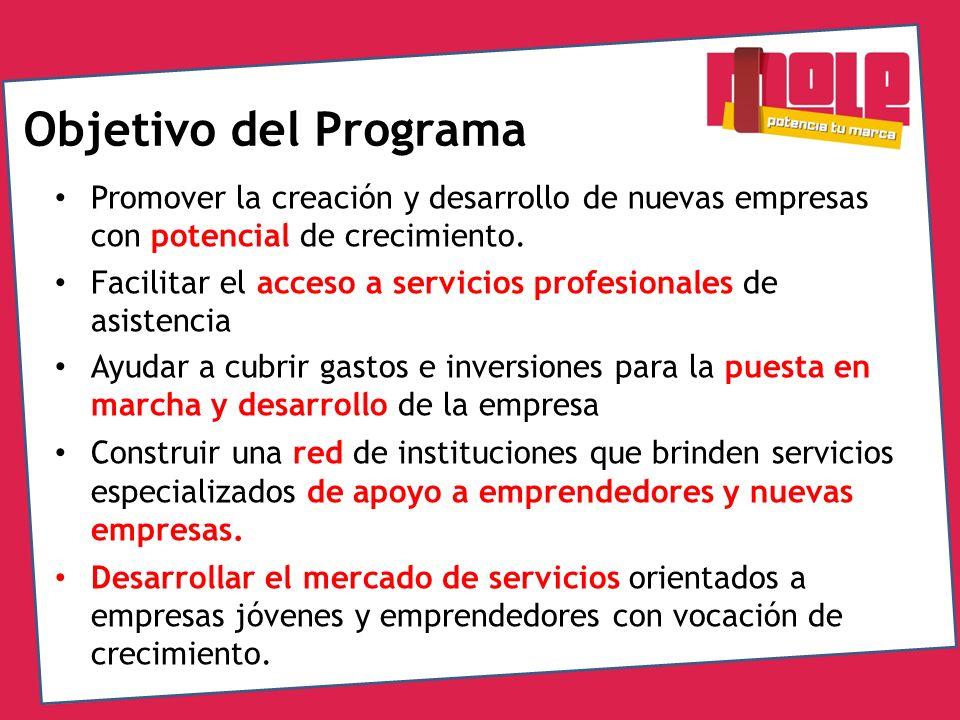 Objetivo del Programa Promover la creación y desarrollo de nuevas empresas con potencial de crecimiento. Facilitar el acceso a servicios profesionales