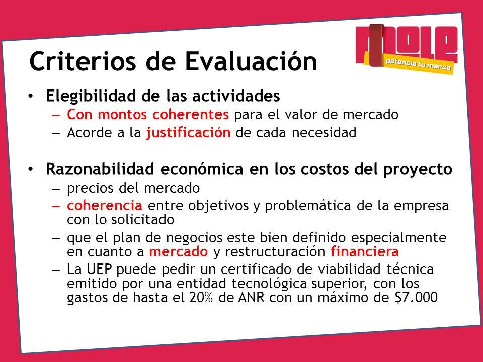 Criterios de Evaluación Elegibilidad de las actividades – Con montos coherentes para el valor de mercado – Acorde a la justificación de cada necesidad
