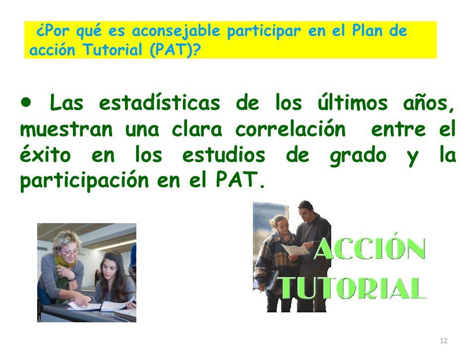 12 ¿Por qué es aconsejable participar en el Plan de acción Tutorial (PAT)? Las estadísticas de los últimos años, muestran una clara correlación entre