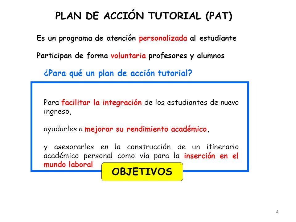 4 PLAN DE ACCIÓN TUTORIAL (PAT) ¿Para qué un plan de acción tutorial? Para facilitar la integración de los estudiantes de nuevo ingreso, ayudarles a m