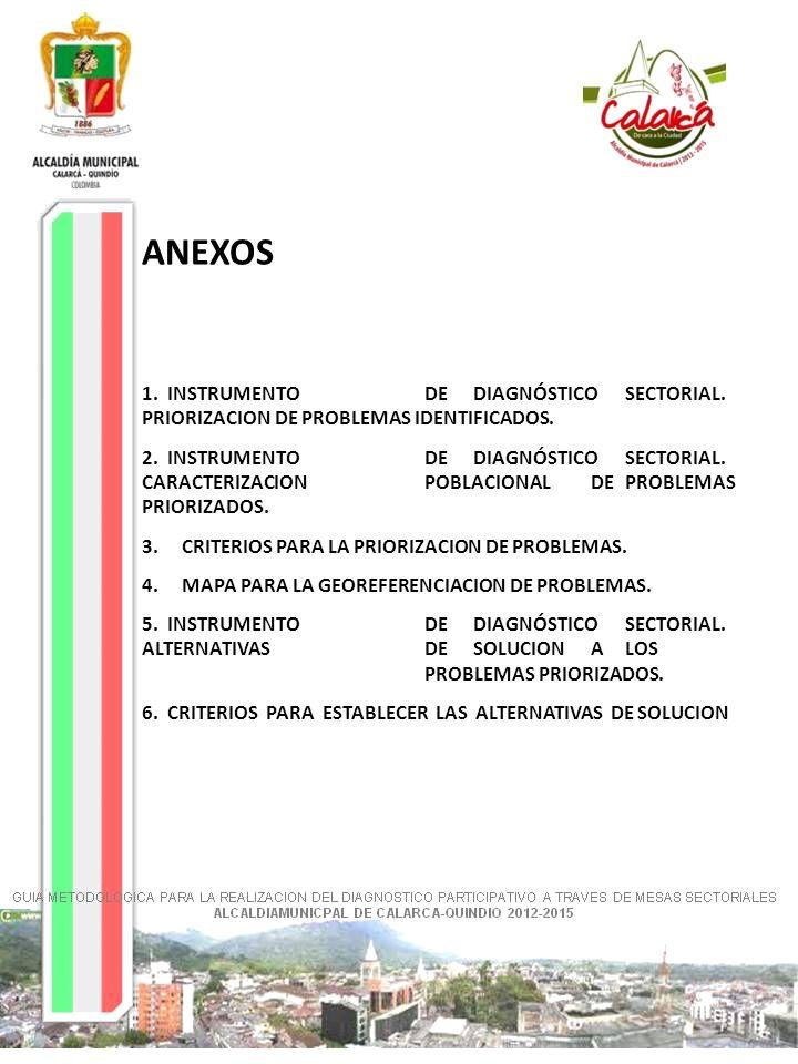 ANEXOS 1. INSTRUMENTODEDIAGNÓSTICOSECTORIAL. PRIORIZACION DE PROBLEMAS IDENTIFICADOS. 2. INSTRUMENTODEDIAGNÓSTICOSECTORIAL. CARACTERIZACIONPOBLACIONAL