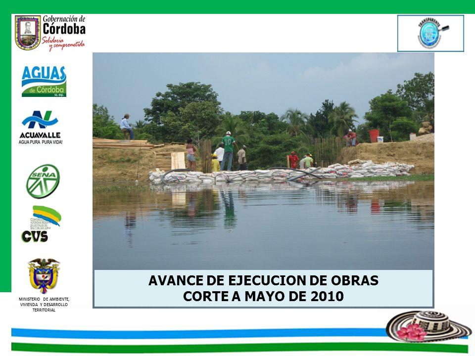 MINISTERIO DE AMBIENTE, VIVIENDA Y DESARROLLO TERRITORIAL AVANCE DE EJECUCION DE OBRAS CORTE A MAYO DE 2010