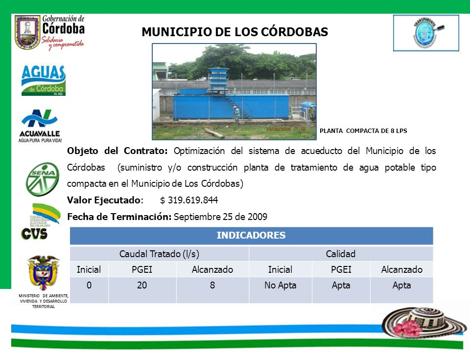 MINISTERIO DE AMBIENTE, VIVIENDA Y DESARROLLO TERRITORIAL MUNICIPIO DE LOS CÓRDOBAS Objeto del Contrato: Optimización del sistema de acueducto del Mun