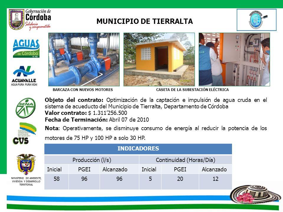 MINISTERIO DE AMBIENTE, VIVIENDA Y DESARROLLO TERRITORIAL MUNICIPIO DE TIERRALTA CASETA DE LA SUBESTACIÓN ELÉCTRICABARCAZA CON NUEVOS MOTORES Objeto d