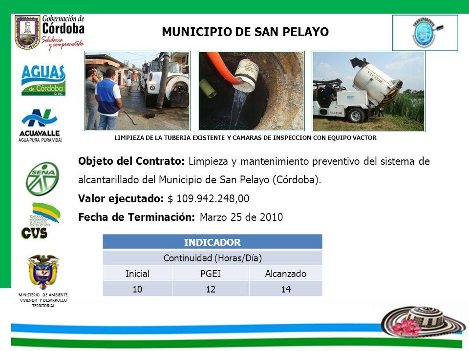 MINISTERIO DE AMBIENTE, VIVIENDA Y DESARROLLO TERRITORIAL MUNICIPIO DE SAN PELAYO Objeto del Contrato: Limpieza y mantenimiento preventivo del sistema