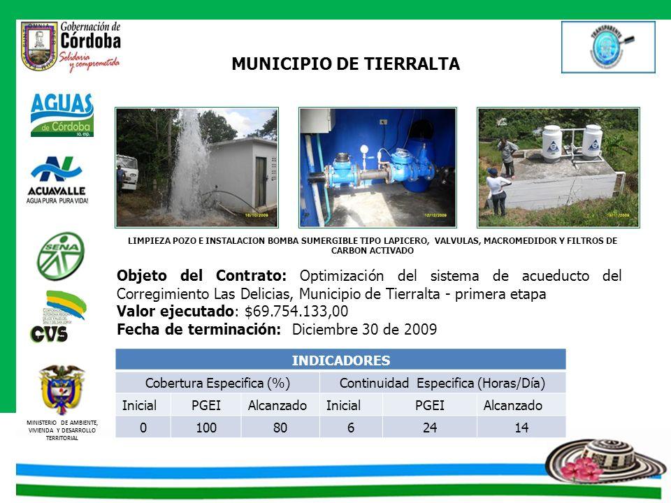 MINISTERIO DE AMBIENTE, VIVIENDA Y DESARROLLO TERRITORIAL MUNICIPIO DE TIERRALTA Objeto del Contrato: Optimización del sistema de acueducto del Correg