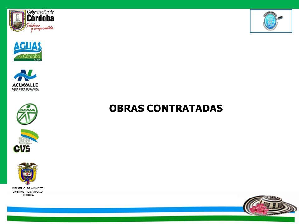 MINISTERIO DE AMBIENTE, VIVIENDA Y DESARROLLO TERRITORIAL OBRAS CONTRATADAS