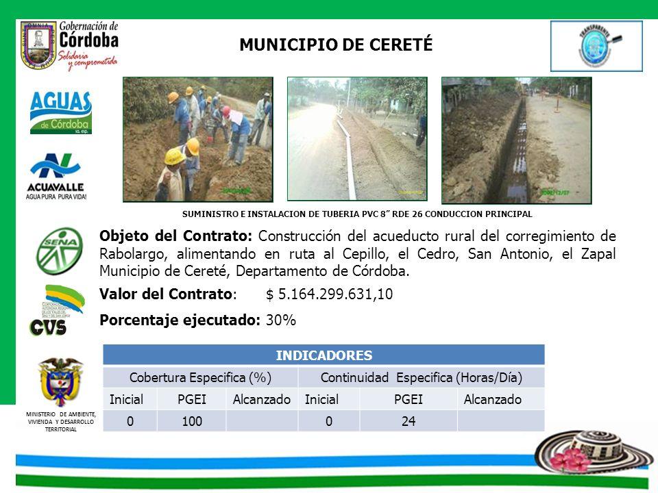 MINISTERIO DE AMBIENTE, VIVIENDA Y DESARROLLO TERRITORIAL MUNICIPIO DE CERETÉ Objeto del Contrato: Construcción del acueducto rural del corregimiento