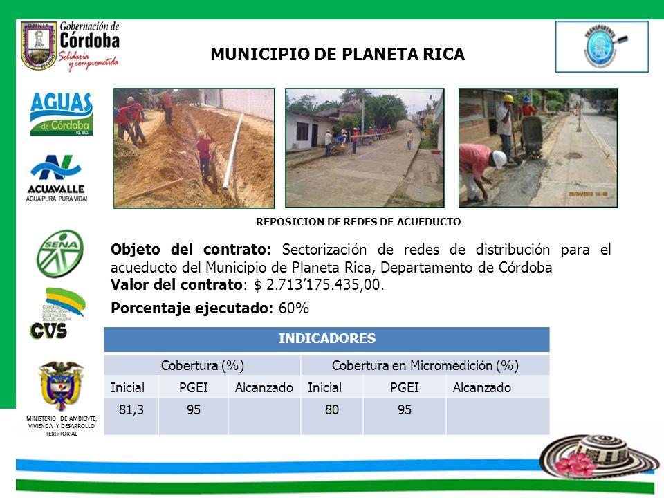 MINISTERIO DE AMBIENTE, VIVIENDA Y DESARROLLO TERRITORIAL MUNICIPIO DE PLANETA RICA REPOSICION DE REDES DE ACUEDUCTO Objeto del contrato: Sectorizació