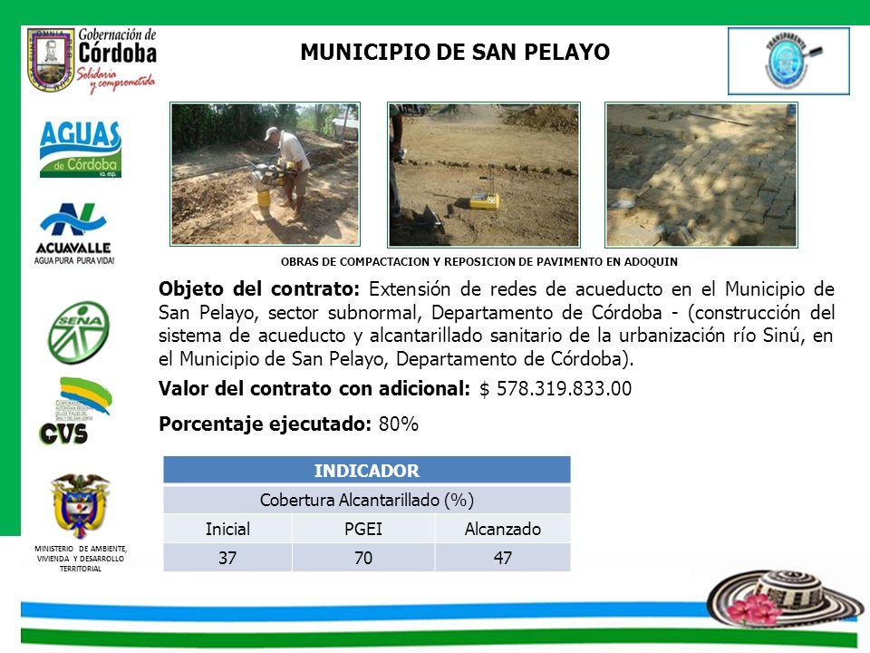 MINISTERIO DE AMBIENTE, VIVIENDA Y DESARROLLO TERRITORIAL MUNICIPIO DE SAN PELAYO Objeto del contrato: Extensión de redes de acueducto en el Municipio