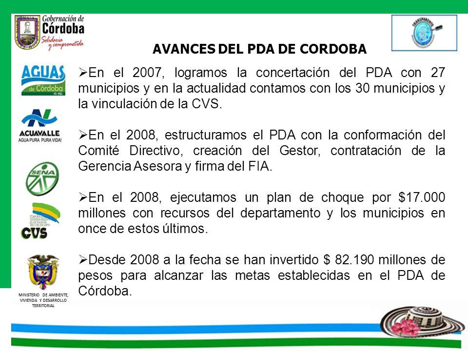 MINISTERIO DE AMBIENTE, VIVIENDA Y DESARROLLO TERRITORIAL Para alcanzar el objetivo del Plan, se han realizado inversiones en acueducto y alcantarillado, las cuales desde que iniciaron las contrataciones del Plan Departamental de Agua del Departamento de Córdoba en el 2008 a 30 de mayo de 2010, asciende a la suma de $ 82.190 millones de pesos, recursos distribuido de la siguiente manera: Valores en millones de pesos CANTIDADCOMPONENTEVALOR CONTRATADO 33Acueducto$ 45.414 15Alcantarillado$ 32.938 6Consultorías$ 3.838 54 CONTRATOS SUSCRITOS POR VALOR DE $ 82.190 INVERSIONES
