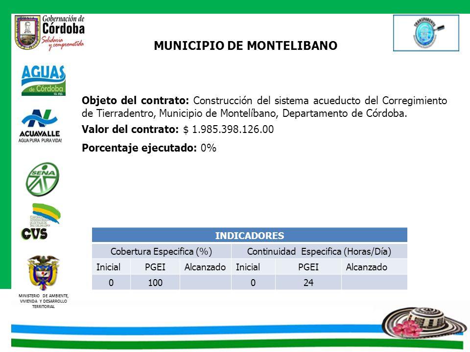 MINISTERIO DE AMBIENTE, VIVIENDA Y DESARROLLO TERRITORIAL MUNICIPIO DE MONTELIBANO Objeto del contrato: Construcción del sistema acueducto del Corregi