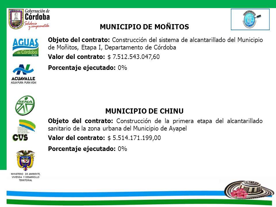 MINISTERIO DE AMBIENTE, VIVIENDA Y DESARROLLO TERRITORIAL MUNICIPIO DE MOÑITOS Objeto del contrato: Construcción del sistema de alcantarillado del Mun