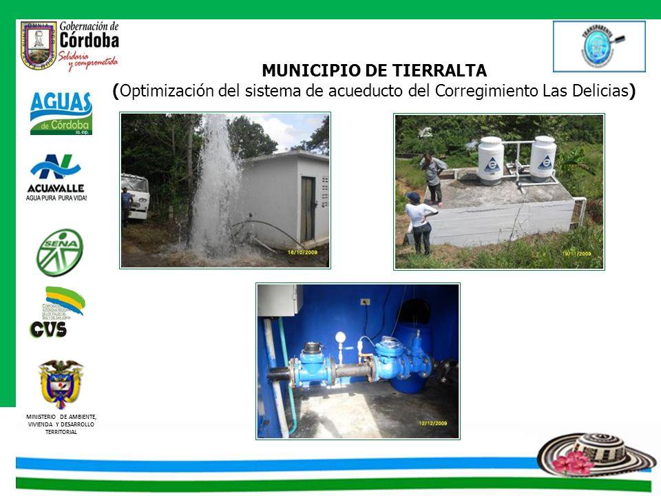 MINISTERIO DE AMBIENTE, VIVIENDA Y DESARROLLO TERRITORIAL MUNICIPIO DE TIERRALTA (Optimización del sistema de acueducto del Corregimiento Las Delicias