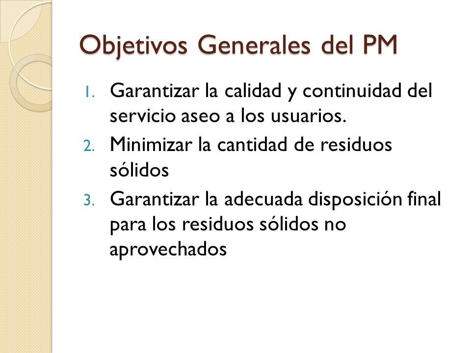 Objetivos Generales del PM 1. Garantizar la calidad y continuidad del servicio aseo a los usuarios. 2. Minimizar la cantidad de residuos sólidos 3. Ga